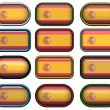 12 buttons of the Flag of Spain — Stock Photo
