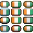 Twelve buttons of the Flag of Cote d&#039;Ivo - Stock Photo