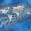 Stock Photo: Metal grid world map