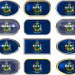12 buttons of the Flag of Maine — Stock Photo