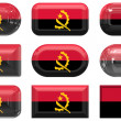Nine glass buttons of the Flag of angola — Stock Photo
