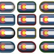Twelve buttons of the Flag of Colorado — Stock Photo