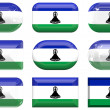 Nine glass buttons of the Flag of Lesoth — Stock Photo