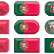 Nine glass buttons of the Flag of Portug — Stock Photo #1214650