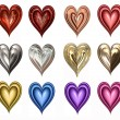 Twelve hearts — Stock Photo