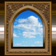 图库照片: Gothic or scifi window with blue sky