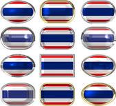 Twaalf knoppen van de vlag van thailand — Stockfoto