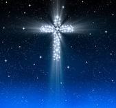 Cruz cristiana en las estrellas — Foto de Stock