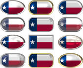 12 buttons of the Flag of Texas — Stock Photo