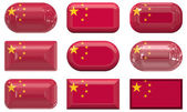 Nine glass buttons of the Flag of China — Stock Photo
