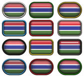Twelve buttons of the Flag of Gambia — Stock Photo