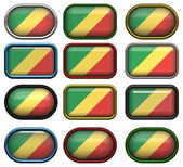 Twelve buttons of the flag of the republic of the congo — Stock Photo
