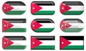 Nove botões de vidro da bandeira da jordânia — Fotografia Stock