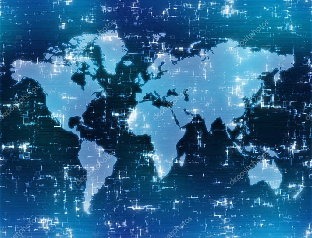 World map background image on high tech blue display  — Stock Photo #1213197