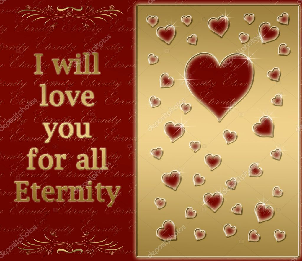 Beautiful golden card for love for all eternity  Stock Photo #1214026