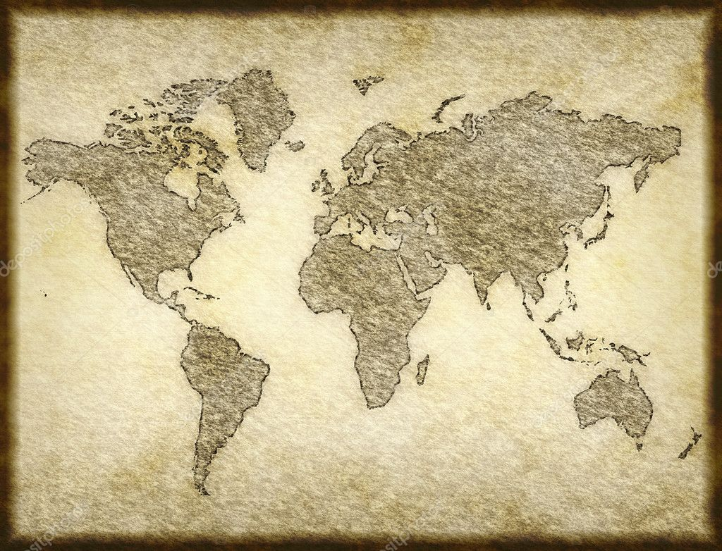 Old world map sketched onto parchment paper — Stock Photo #1214543