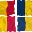 Four flags of chad on white — Stock Photo #1244285