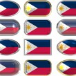 Stock Photo: 12 buttons of the Flag of Philippines
