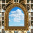 Gothic or scifi window with blue sky — Stockfoto