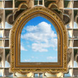 Gothic or scifi window with blue sky — Stockfoto #1245335