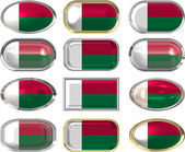 12 buttons of the Flag of Madagascar — Stock Photo