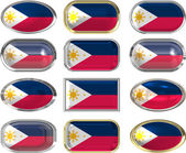12 buttons of the Flag of Philippines — Stock Photo