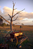 Old plough on farm at sunset — Stock Photo