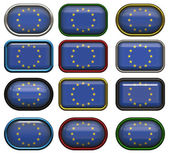Twelve buttons of the flag of the europe — Stock Photo