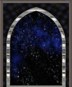 Gothic or science fiction window looking into space or starry night sky — Stock Photo