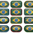Twelve buttons of the Flag of Brazil — Stock Photo