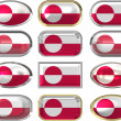 Twelve buttons of the Flag of Greenland — Stock Photo #1430798