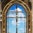 Gothic or scifi window with blue sky — ストック写真