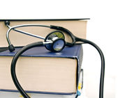 Books and stethoscope — Stock Photo