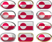 Twelve buttons of the Flag of Greenland — Stock Photo
