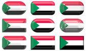 Negen glas knoppen van de vlag van Soedan — Stockfoto