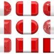 Nine glass buttons of the Flag of Peru, — Stock Photo