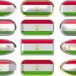 Twelve buttons of Flag of Tajikistan — Stock Photo #1800386