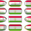 Twelve buttons of the Flag of Tajikistan — Stock Photo