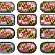 12 buttons of the Flag of Maryland - Stock Photo