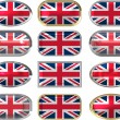 12 buttons of the Flag of the United Kingdom — Stock Photo