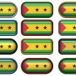 Stock Photo: Twelve buttons of Flag of Sao Tome and Princ