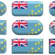 Nine glass buttons of the Flag of Tuvalu — Stock Photo