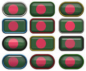 Twelve buttons of the Flag of Bangladesh — Stock Photo