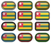 Twelve buttons of the Flag of Togo — Stock Photo