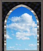 Gothic or scifi window with blue sky — Photo