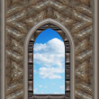 Gothic or scifi window with blue sky — Zdjęcie stockowe #1849215