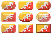 Nine glass buttons of the Flag of Bhutan — Stock Photo
