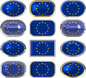 Twelve buttons of the flag of the european union — Stock Photo