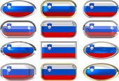 Twelve buttons of the Flag of Slovenia — Stock Photo