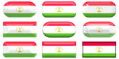 Nine glass buttons of the Flag of Tajikistan — Stock Photo